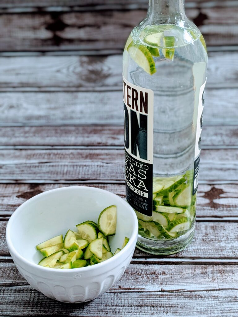 Cucumber infused vodka ready to sit for a few hours or overnight.
