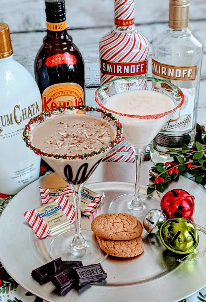 Simple Holiday Martinis surrounded by Rum Chata, Kahlua, Smirnoff Peppermint Twist and Smirnoff Whipped Cream.