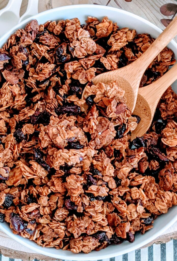 Close-up of baked granola.
