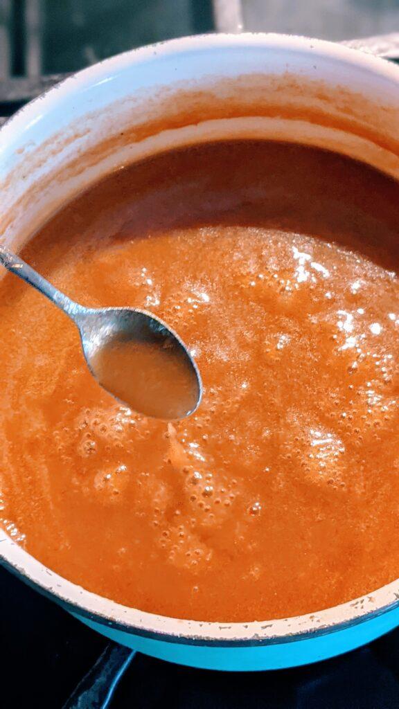 Caramel in a sauce pan.