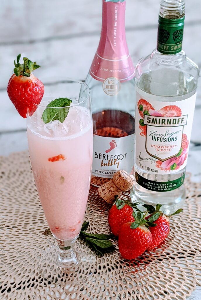 """""""Mint"""" to be Strawberry Cocktail beside Bubbly and vodka."""