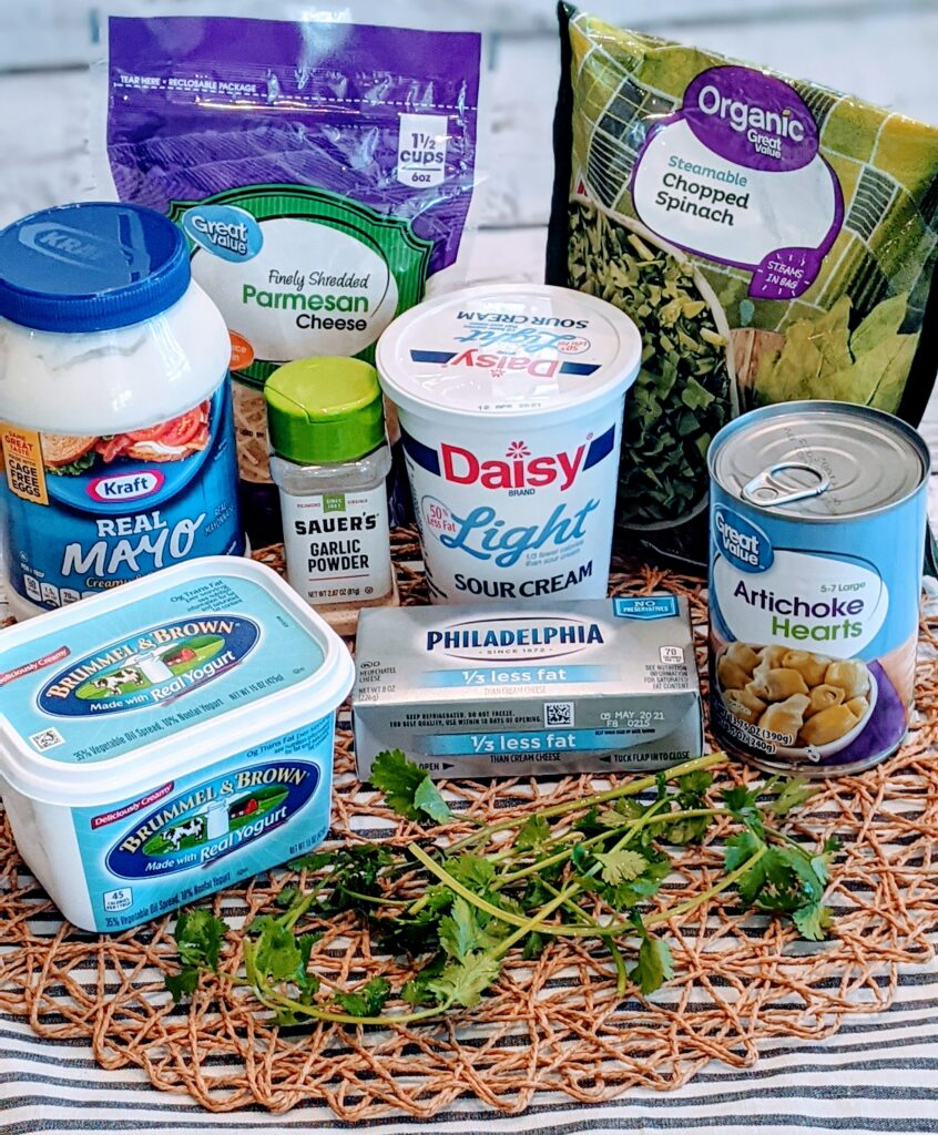 Ingredients to create Easy Creamy Spinach Artichoke.