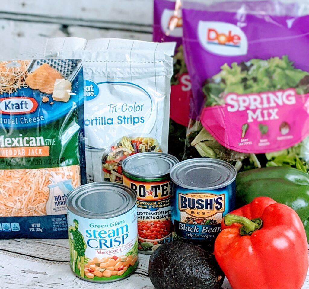 Ingredients for Loaded Southwest Salad.