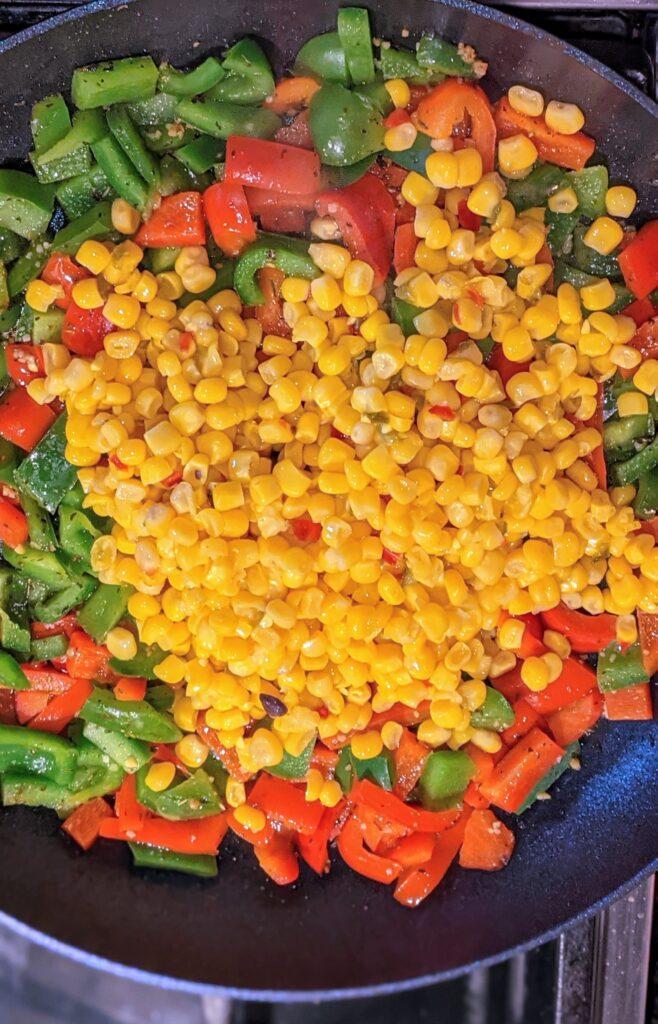 Sautéing veggies in skillet.