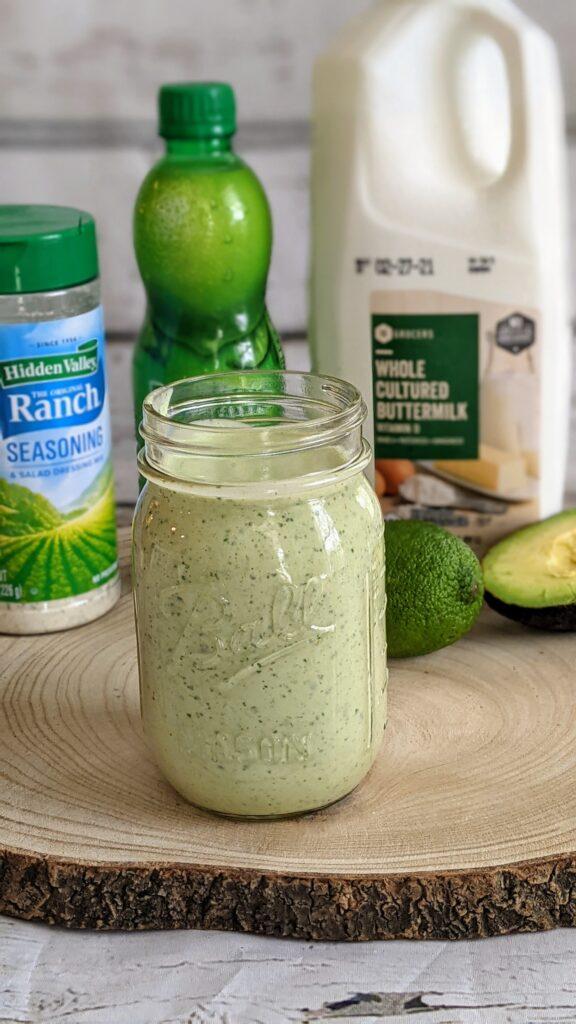 Avocado Cilantro Dressing alongside ingredients.