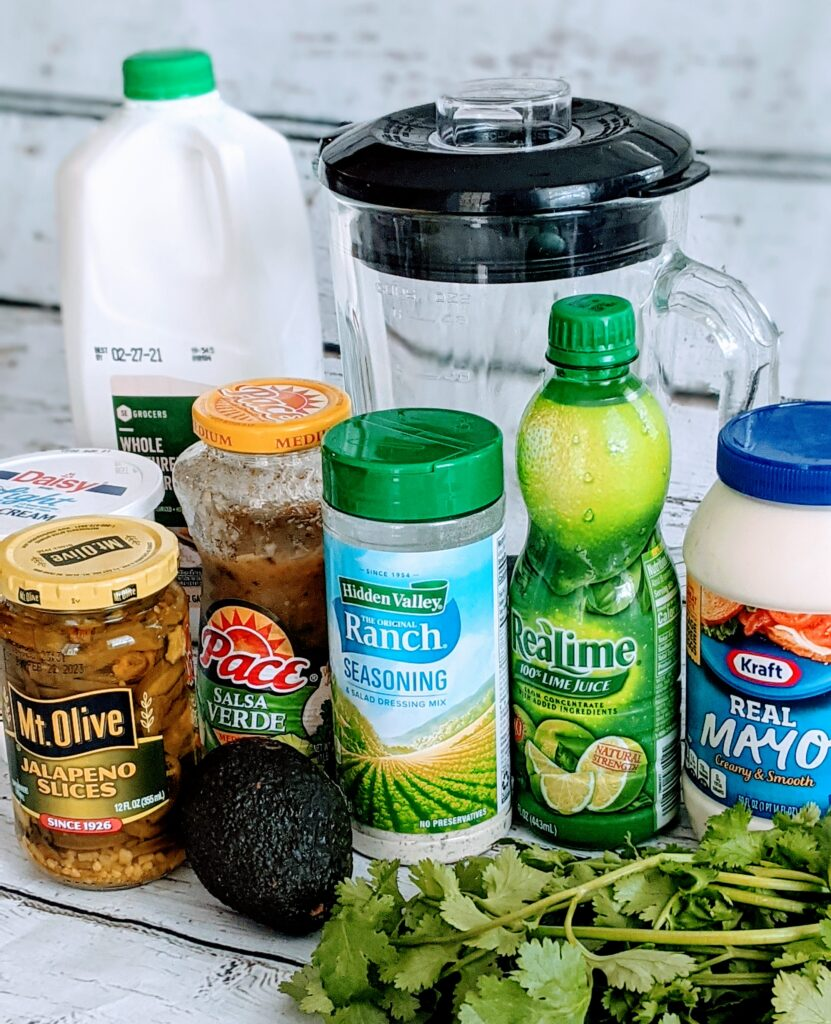 Ingredients for Avocado Cilantro Dressing.