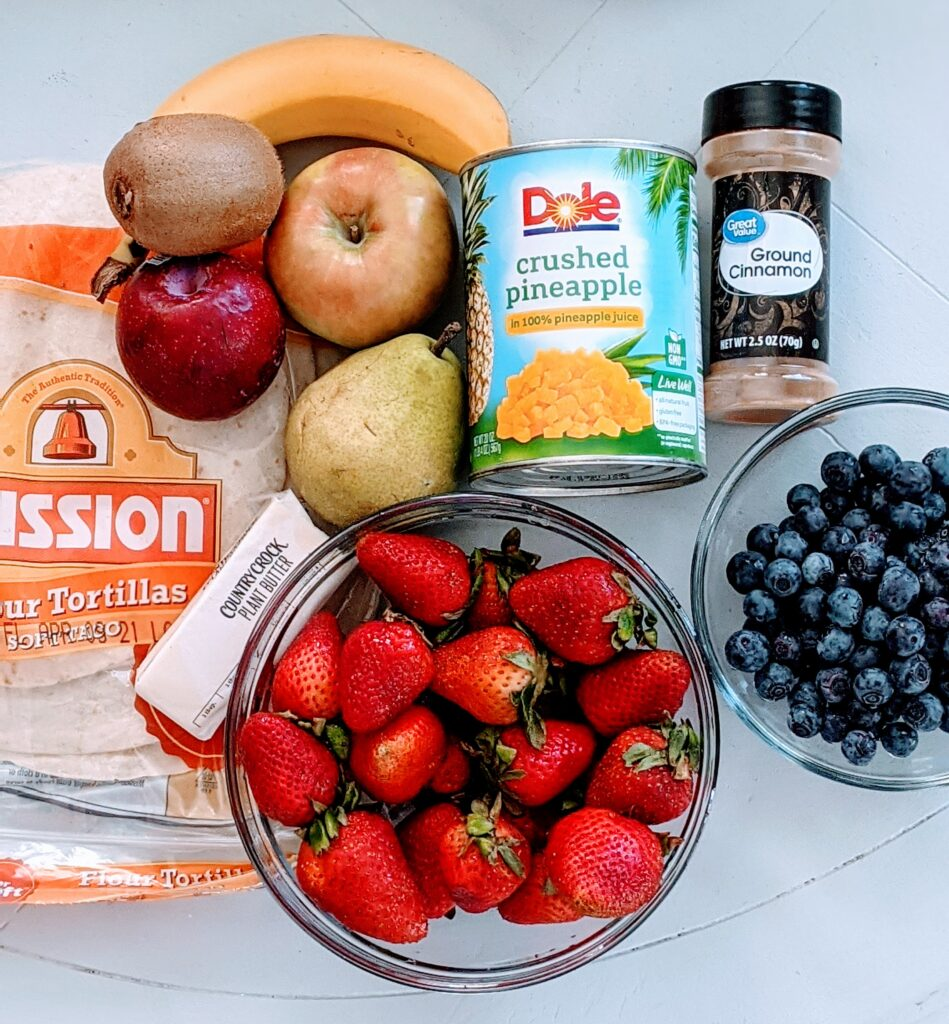 Ingredients for Cinnamon Sugar Fruit Salsa.