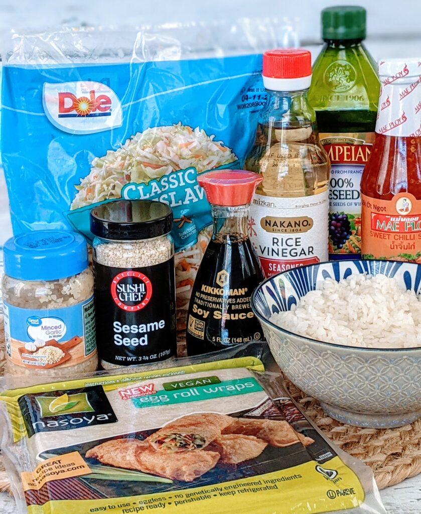 Ingredients for Vegan Slaw Egg Rolls.