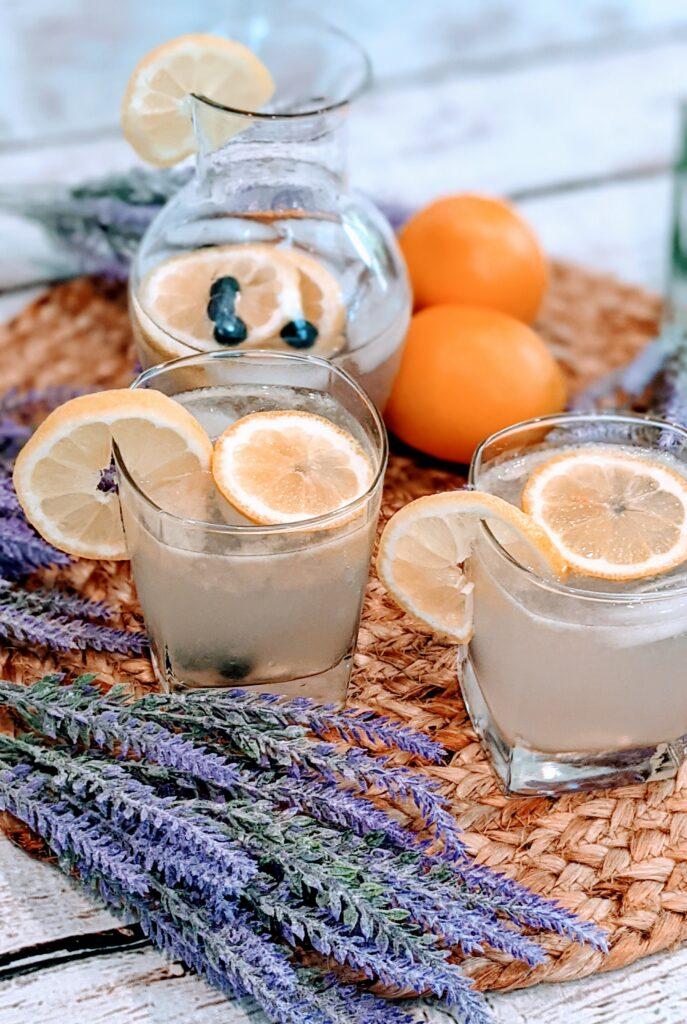 Finished Lemon Lavender Splash surrounded with sprigs of lavender and lemons,