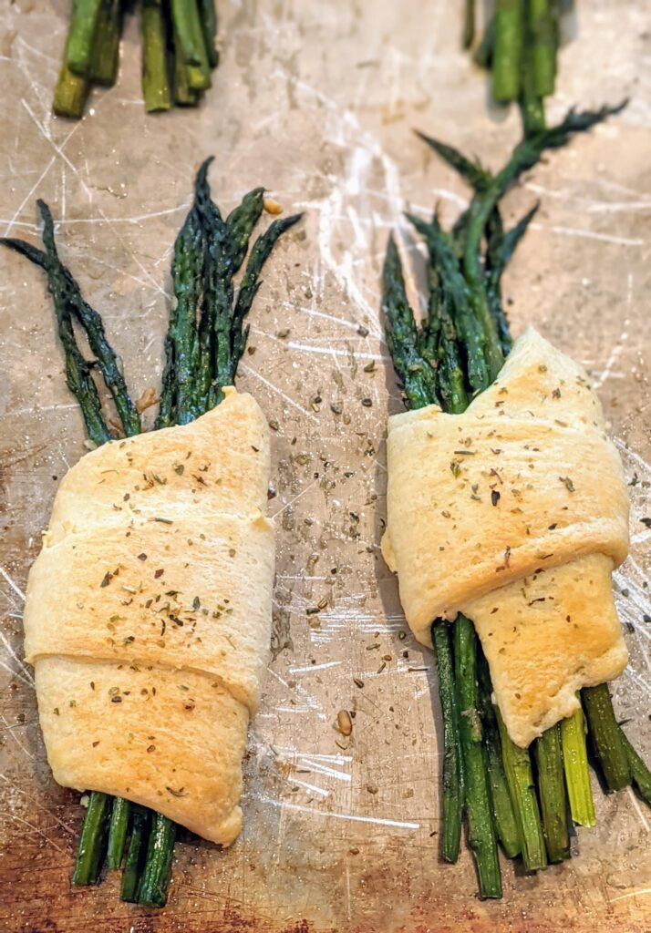 Fresh from the oven baked Crescent Rolled Feta Asparagus.