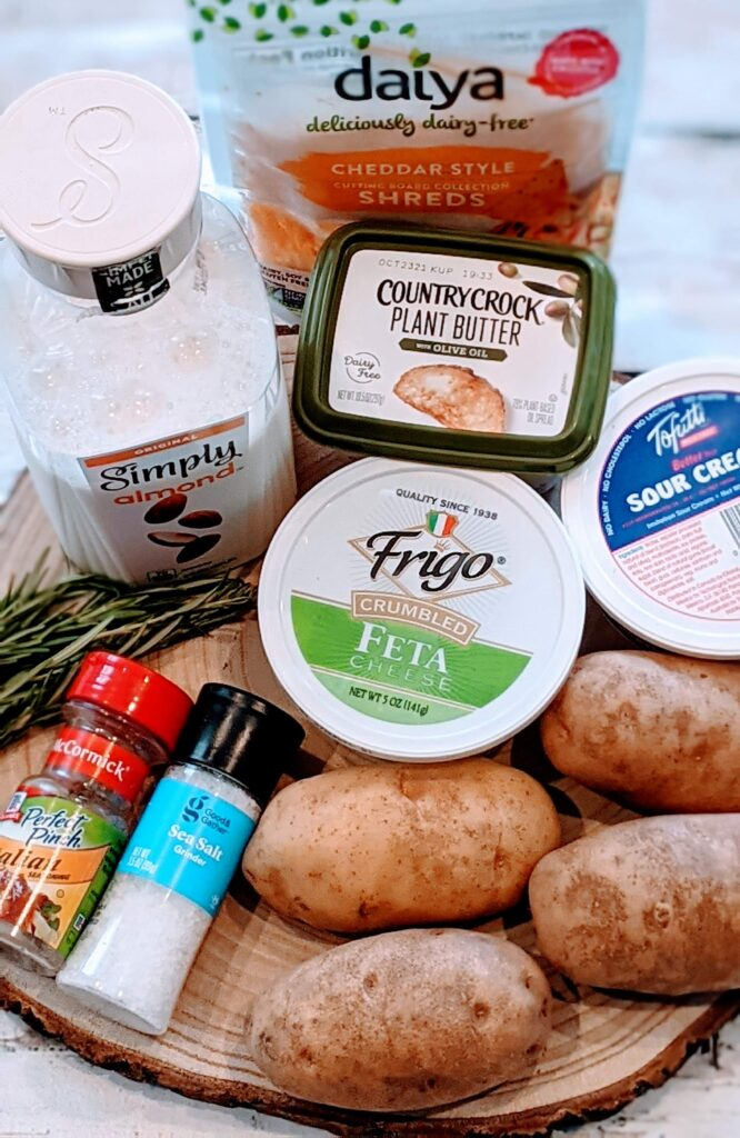 Ingredients for ROSEMARY FETA TWICE BAKED POTATOES.