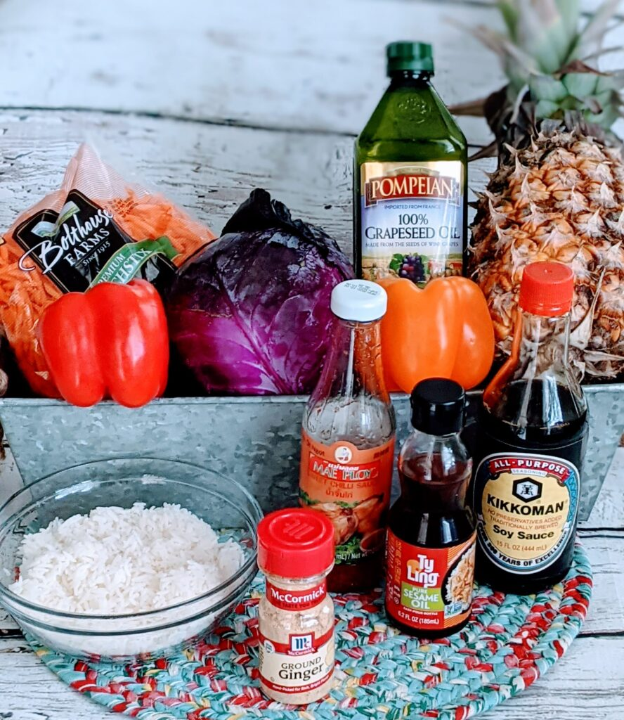 Ingredients for EASY PINEAPPLE FRIED RICE.