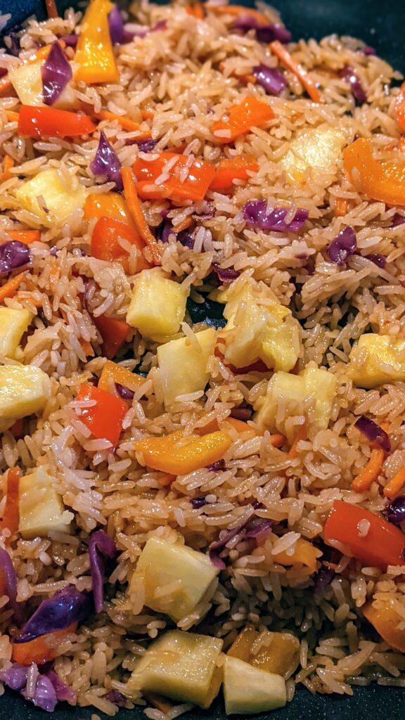 Easy Pineapple Fried Rice in skillet pan.