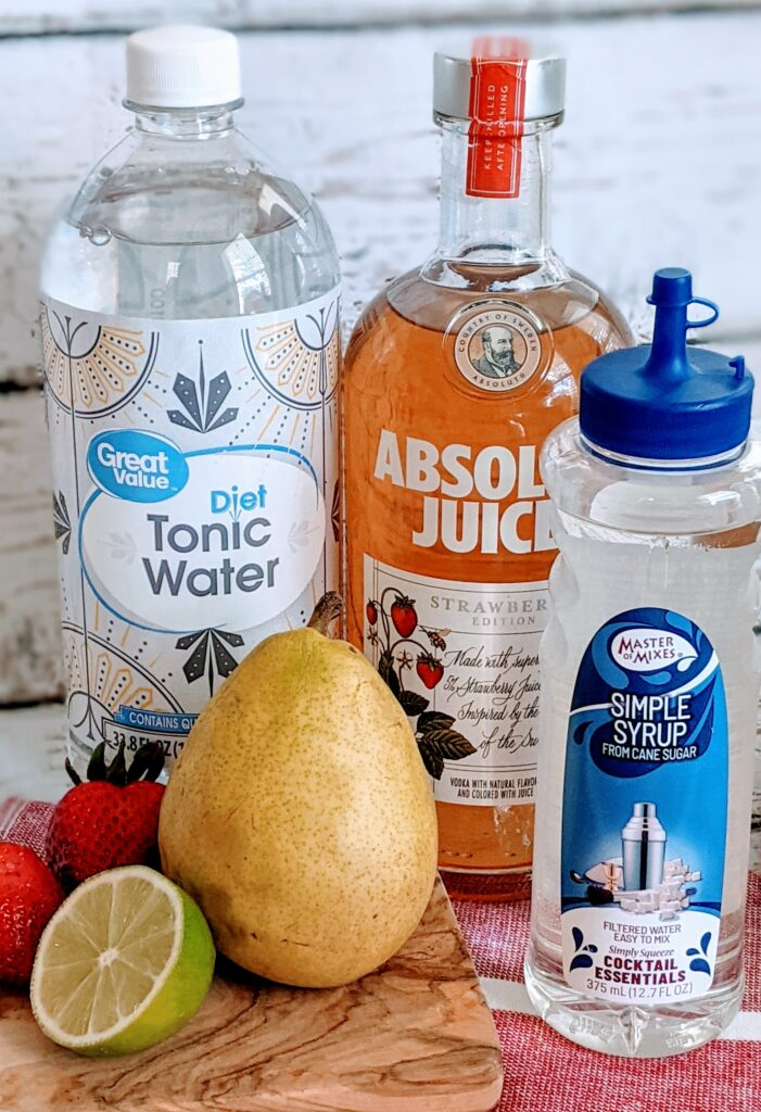 Ingredients for Absolut Strawberry Pear Cocktail.