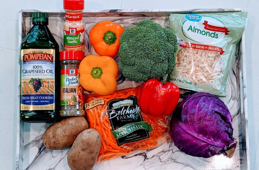 Ingredients for Roasty Toasty Veggies.