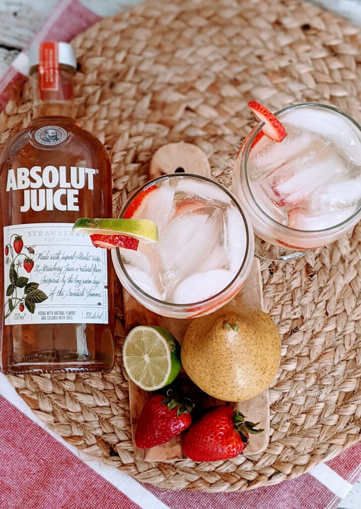 Overtop view of cocktail and ingredients.