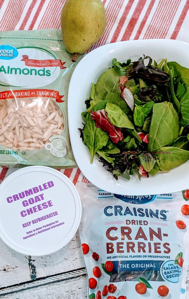 Ingredients for CRANBERRY PEAR SUPER SALAD.