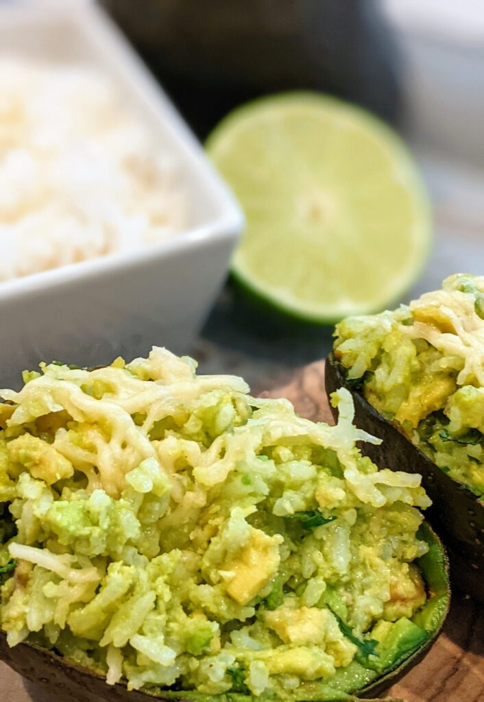 Another close up of Broiled Avocado Parmesan Rice.
