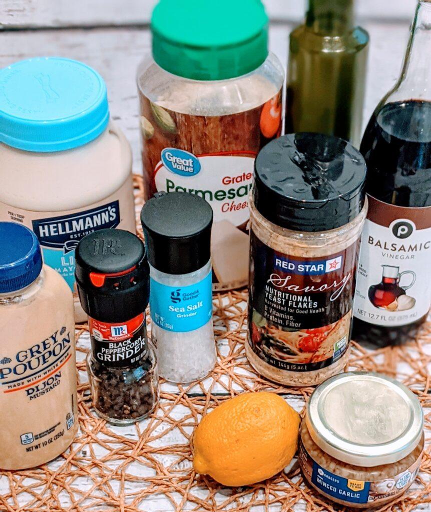 Ingredients for EASY VEGETARIAN BALSAMIC CAESAR DRESSING.
