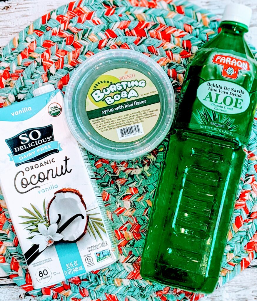 Ingredients for Bobalicious Aloe Drink.