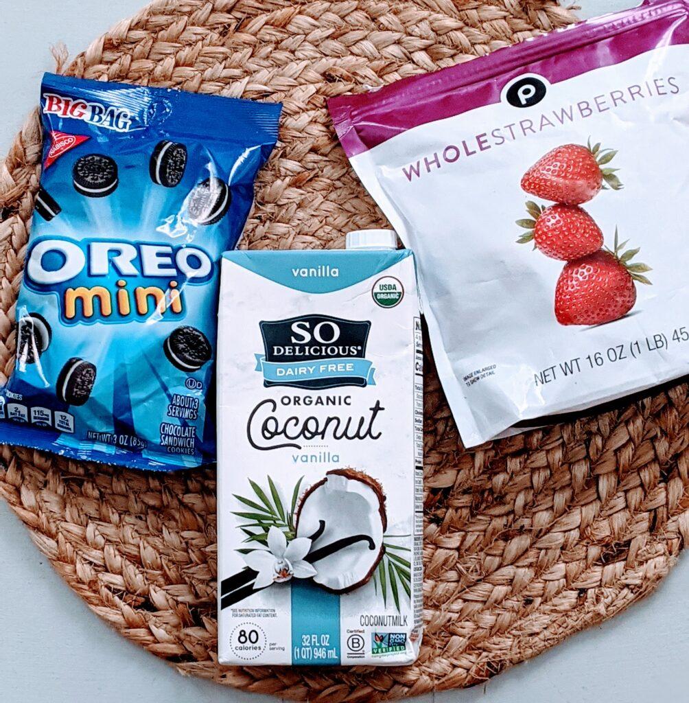Ingredients for Strawberries & Cream Smoothie Shake.